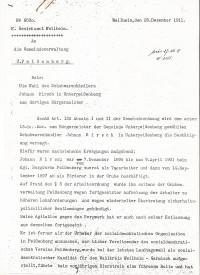 Entscheidung Kgl Bezirksamt WM wegen Johann Hirsch 1911